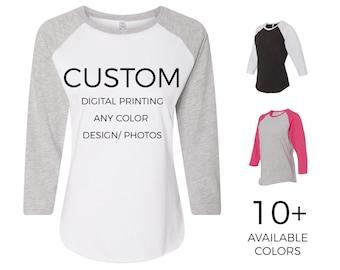 b6bb4871a Adult Womens Custom Raglan Baseball Shirt, Personalize & Design Your Own  Raglan Shirt - Custom Tees - 365Customize