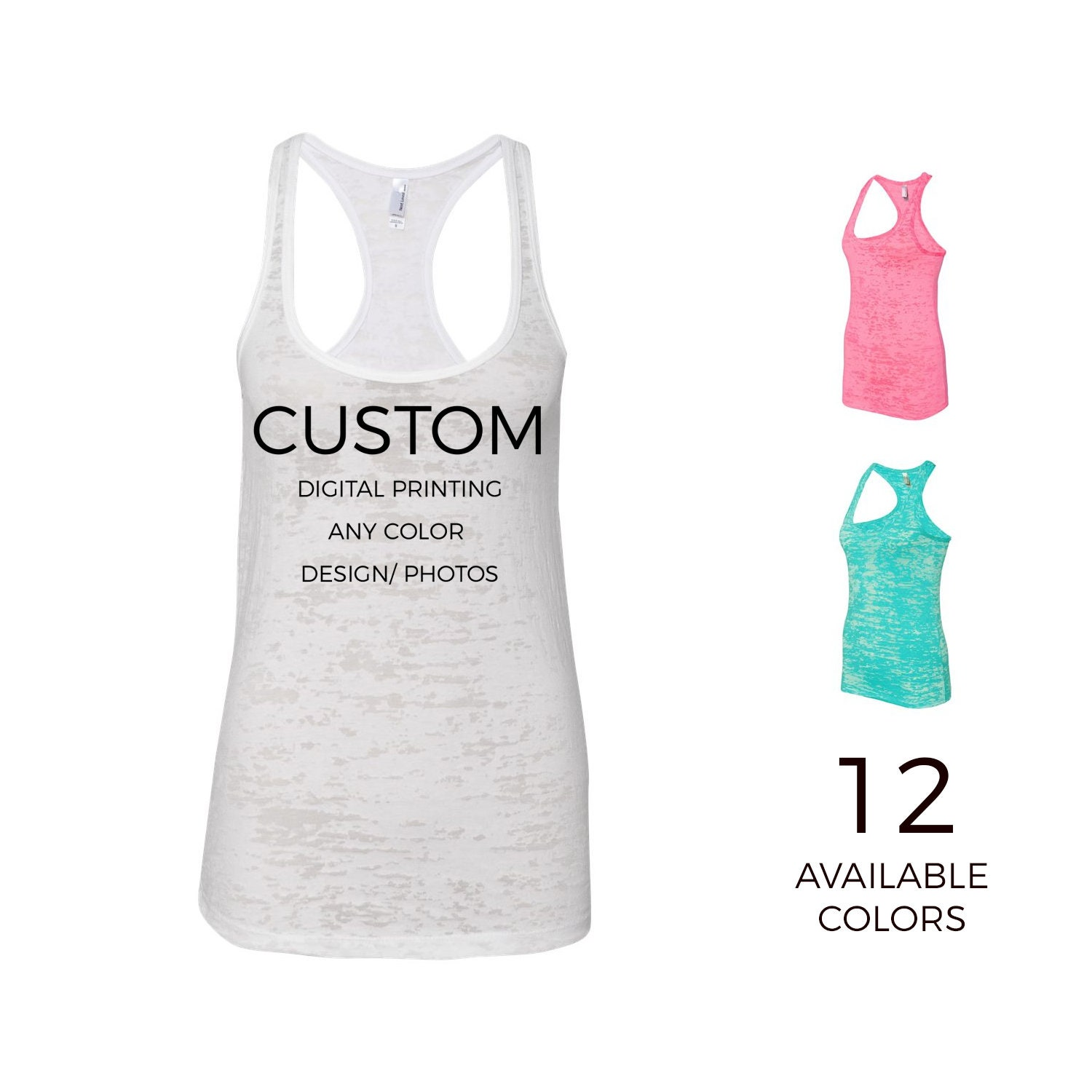 5884e1ded41d Women's Adult Personalized Burnout Racerback Tank - Your Own Designs,  Logos, Text - Custom Womens Shirts - Custom Printing -365Customize. gallery  photo ...