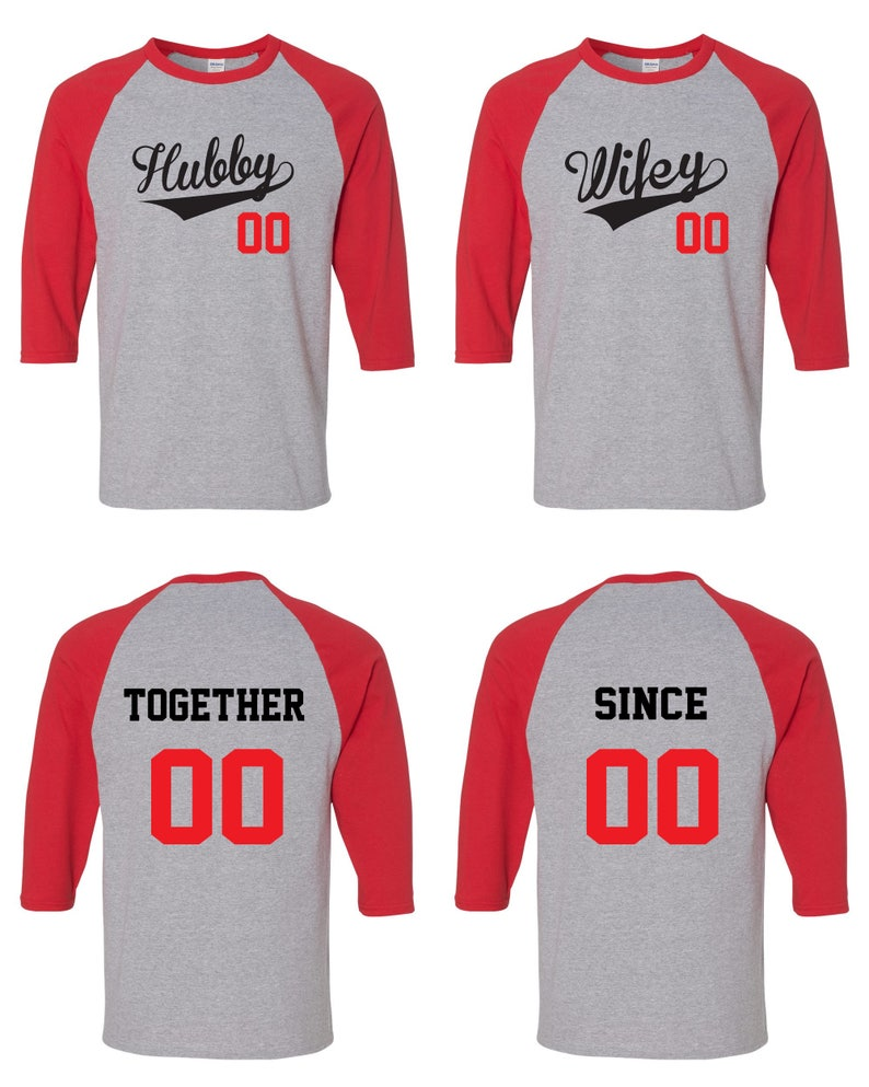 d355f40333 Hubby and Wifey Matching Couple Straight Fit Unisex Raglan Tee   Etsy
