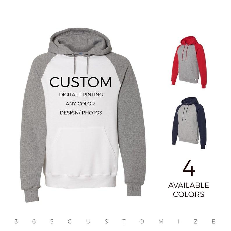 a76bec6ab3357 Adult Unisex Custom Raglan Hooded Sweatshirt- Your Design Here - Custom  Sweatshirt - Custom T-Shirt Customizable Personalized