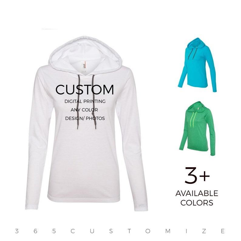 Women's Lightweight Long Sleeve Hooded T-Shirt - Your Design Here - Custom  Sweatshirt - Custom T-Shirt Customizable Personalized