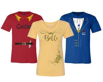 Beauty Beast Gaston Inspired Costume T-Shirt - Fun for Birthday Parties, Halloween, Events, Trips, Cruises and More!
