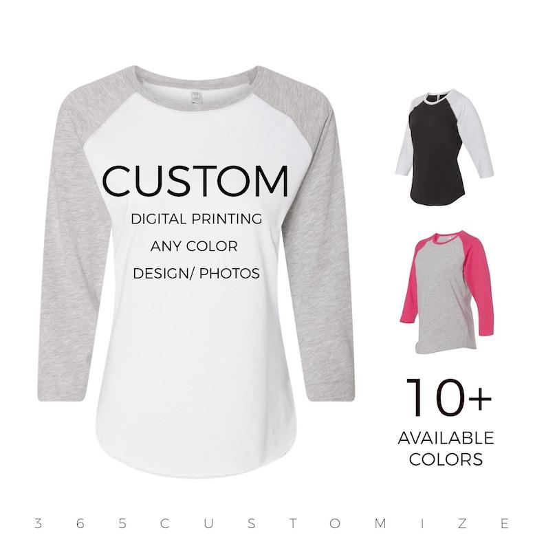 a12fc782b Adult Womens Custom Raglan Baseball Shirt Personalize &   Etsy