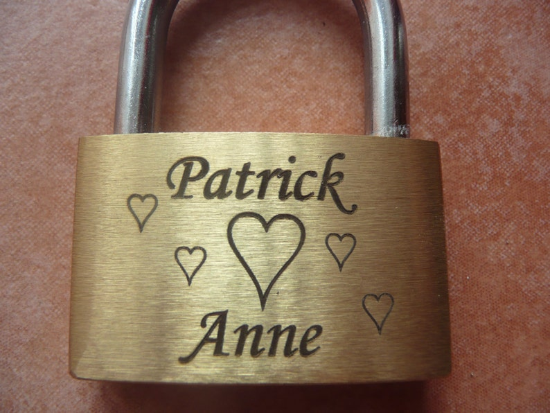 engraved Padlock  Love-lock Brass  with Key and image 0