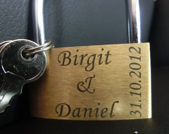 Love lock, engraved Padlock, brass, 50mm( 1,97 Inch ) +  jewelry pouch + 3 keys  (padlock, lock, wedding, gift, Personalized, personalized