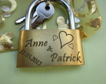 Love lock + engraving according to your wishes + organza bag