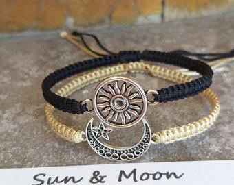 Gift for Birthday Adjustable Gold Face Sun Bracelet SUN MOON CUFF Star Sign Gift Moon Bracelet Bangle ..