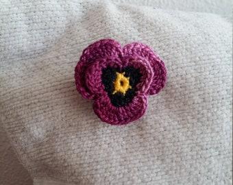 Crochet violet brooch , handmade brooch violet