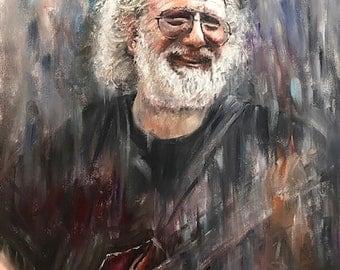 Jerry Garcia Art Grateful Dead Painting Original Painting 16x20 Print on Canvas Board Deadhead Gift