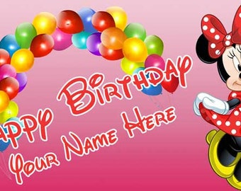 Birthday banner Personalized 4ft x 2 ft Disney Minnie Mouse  Birthday