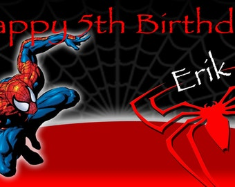 Birthday banner Personalized 4ft x 2 ft Spiderman Comic