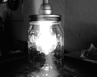 Mason Jar Pendant Light w/Black braided cord