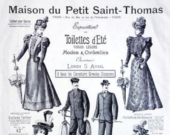 "Large French Fashion Plate - Fashion Catalog 1897 / Large Engraving / Summer Collection / 1900 Dress - ""La Maison du Petit Saint-Thomas"""