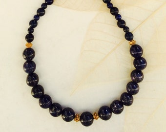 Lapis Lazuli Necklace 24k Gold Vermeil beads and clasp 19.5 inch