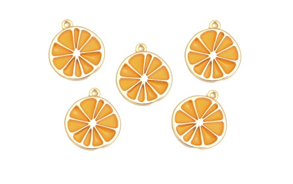 50pc S//S Plated California Orange Fruit Charms 6362