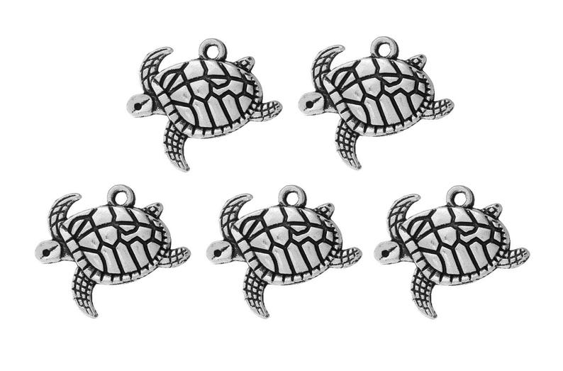5PCS Antique Silver Large Sea Turtle Charm Pendant for Necklace Jewelry Findings