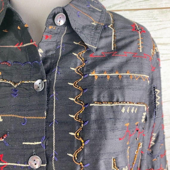 Vintage 90s Laura Ashley Embroidered Jacket Sz S … - image 2
