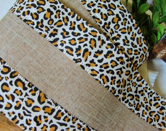4 Inch - Premium Designer Faux Linen Wired Ribbon with Black and Antique Gold Leopard Stripe Edges