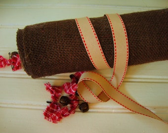 Khaki-Tan with Red Saddle Stitch Edge Twill Ribbon