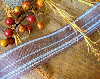 Natural Jute Dark Bark Brown and White Stripe Woven Ribbon
