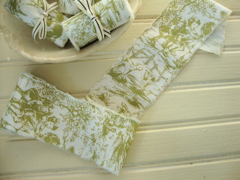 1 14 Yard Vintage French Farmhouse Moss Green and White Toile Hand-Frayed Ribbon Trim