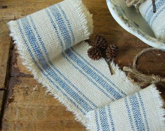 1 1/2 Yard - Vintage Linsey-Woolsey Homespun Oatmeal and Colonial Blue Railroad Stripe Ticking Handmade Ribbon Trim Passementerie