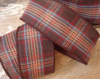 Designer Woven Wired Ribbon in Dark Brown with Mocha Red and Blue Plaid