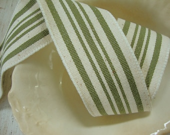 Designer Vintage Ticking Stripe Cotton Blend Canvas Wired Ribbon in Natural and Moss Green