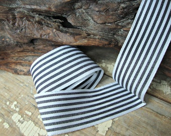 Black and White Narrow Awning Stripe Wired Ribbon