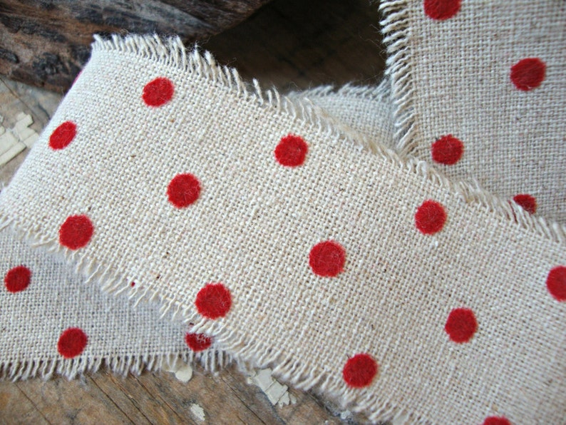 Cotton Linen Natural Ribbon with Soft Red Velvet Dots