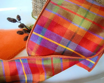 4 Inch - Premium Designer Faux Silk Dupioni Autumn's Bounty Wired Ribbon in Fire Orange-Muted Purple-Saffron and Moss Green Plaid