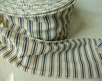 Farmhouse Natural Ivory Canvas Wired Ribbon with Dark Gray Ticking Stripes