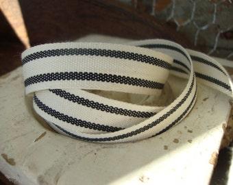 Farmhouse Black and Cream Organic Cotton Blend Ticking Ribbon