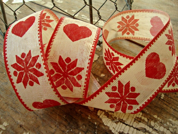 """5 Yards Christmas Red Ivory Country Rustic Folk Plaid Wired Ribbon 1 1//2/""""W"""