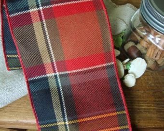 4 Inch - Premium Designer Heavy Weight Upholstery Canvas Twill Wired Ribbon in Burnt Orange Black Camel Brown and Barn Red Plaid