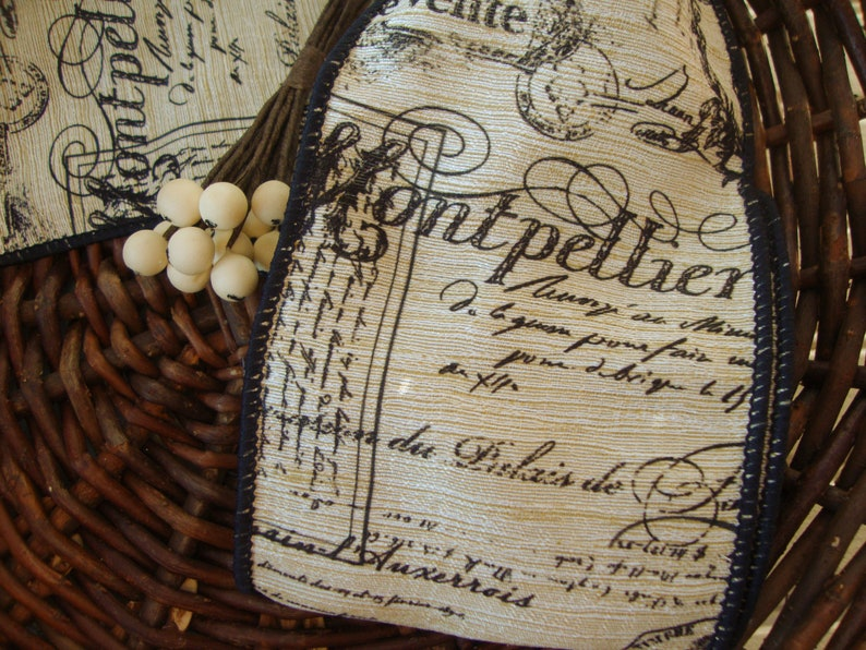 Natural-Beige Textured Stripe Wired Ribbon with Black French Script 4 Inch