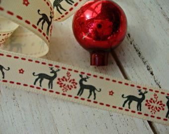 Nordic Reindeer in Grey Ribbon Trim