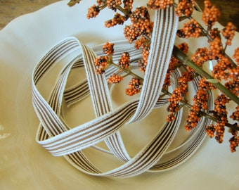 2 Yards - Dark Brown Ash and Ivory Ticking Stripe Thin Passementerie Refined Modern Country