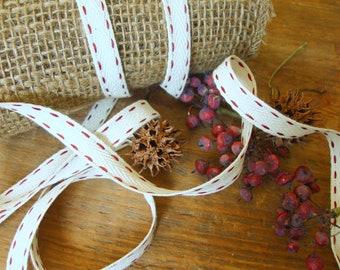 2 Yards - Cotton Blend Ivory Twill Ribbon with Burgundy/Maroon Saddle Stitched Edges