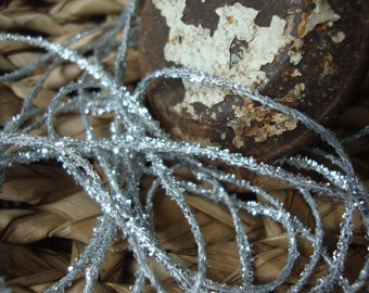 2 Yards - Silver Glitter Tinsel Ribbon Twine