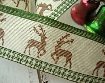 French Wired Hunter Green and Brown Alpine Deer Ribbon
