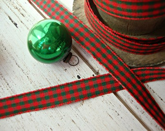 2 Yards - Red and Green Gingham Check Ribbon