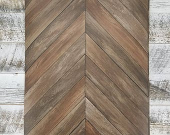 Chevron Rustic Wood Plank Parisian Dark Brown Parquet Wallpaper 2540-24006 - Sold by the Yard