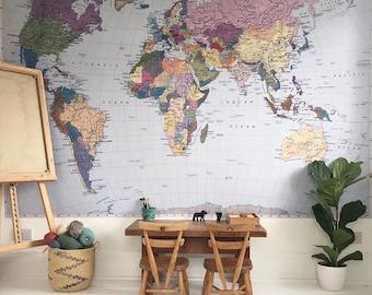 world map wall mural australia komar colorful world map wall mural wallpaper 4050 map wall mural etsy