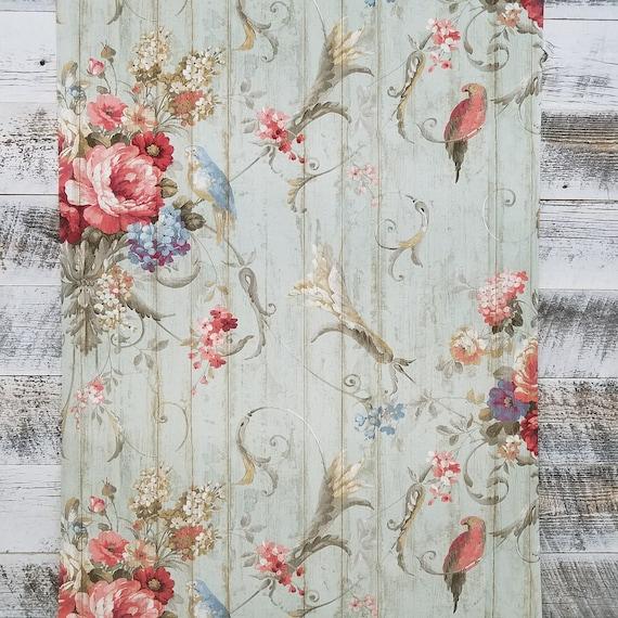 Ebay Mastercard Login >> Bird Rose French Cottage Floral Victorian Vintage Wallpaper | Etsy