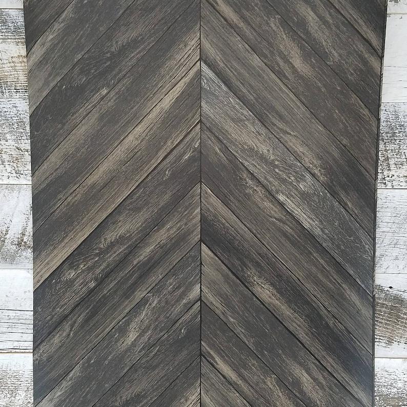 Chevron Rustic Wood Plank Parisian Dark Gray Brown Espresso Parquet Wallpaper 2540-24008