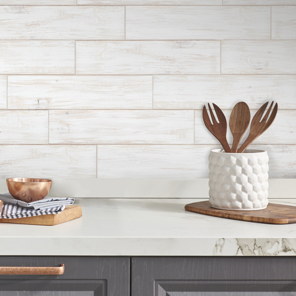 Wood Wall Planks: White Shiplap Distressed Wood Planks Peel And Stick Wall