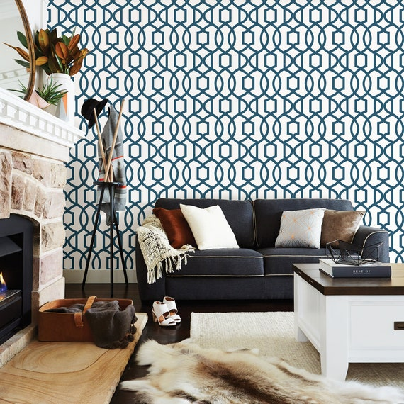 Navy Blue Links Nu Wallpaper Nu1648 Peel And Stick Wallpaper Etsy