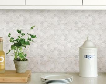 Wallpops Hexagon Marble Farmhouse Peel and Stick Backsplash Tile NH2359