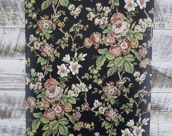 Black - St Regis Fifth Avenue Vintage Victorian Cottage Pink Floral Wallpaper EG1290 - Sold by the yard